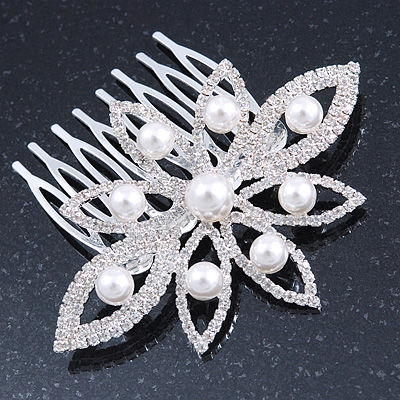 Bridal/ Prom/ Wedding/ Party Rhodium Plated Clear Austrian Crystal, White Glass Pearl Flower Side Hair Comb - 8cm W