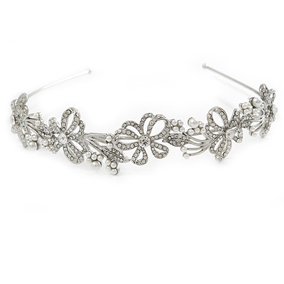 Statement Bridal/ Wedding/ Prom Rhodium Plated Clear Austrian Crystal  Butterfly Tiara - main view