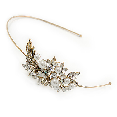 Vintage Inspired Wedding/ Prom/ Bridal White Glass Pearl, Clear Crystal Tiara Headband In Gold Plated Metal - main view
