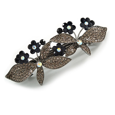 Crystal Double Butterfly Barrette Hair Clip Grip In Gunmetal Finish (Dim Grey, Dark Blue) - 85mm Across