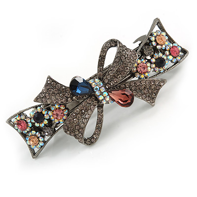 Stunning Crystal Bow Barrette Hair Clip Grip In Gunmetal Finish (Grey, Pink, Ab, Dark Blue) - 80mm Across