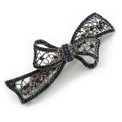 Exquisite Floral Filigree Montana Blue Crystal 'Perfect Bow' Barrette Hair Clip Grip In Gunmetal Finish - 90mm Across