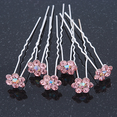Bridal/ Wedding/ Prom/ Party Set Of 6 Pink Austrian Crystal Daisy Flower Hair Pins In Silver Tone