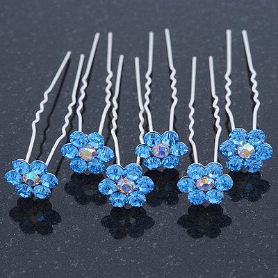 Bridal/ Wedding/ Prom/ Party Set Of 6 Sky Blue Austrian Crystal Daisy Flower Hair Pins In Silver Tone