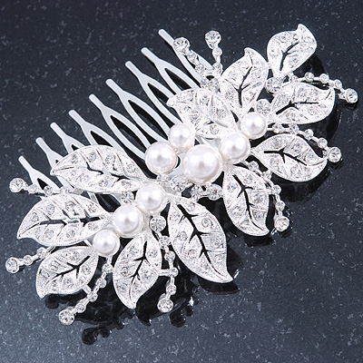Bridal/ Wedding/ Prom/ Party Rhodium Plated Clear Crystal, Faux Pearl Leaves Side Hair Comb - 90mm Across