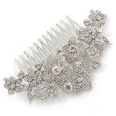 Statement Bridal/ Wedding/ Prom/ Party Rhodium Plated Clear Austrian Crystal Floral Side Hair Comb - 110mm Across