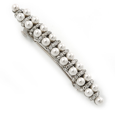 Bridal Wedding Prom Silver Tone Glass Pearl, Crystal Barrette Hair Clip Grip - 80mm W