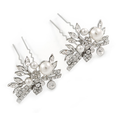 Bridal/ Wedding/ Prom/ Party Set Of 2 Rhodium Plated Clear Austrian Crystal Glass Pearl Floral Hair Pins - 70mm L