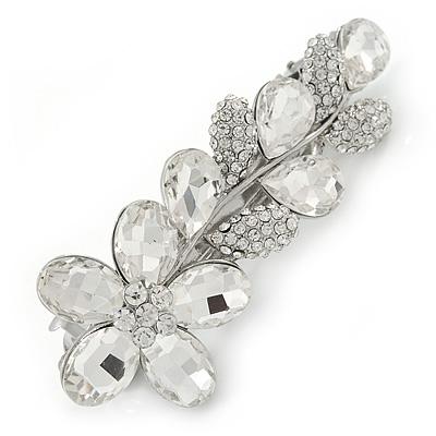 Bridal Wedding Prom Rhodium Plated Clear Austrian Crystal Floral Barrette Hair Clip Grip - 85mm Across
