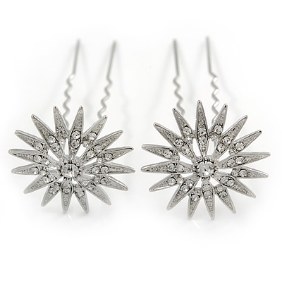 Bridal/ Wedding/ Prom/ Party Set Of 2 Rhodium Plated Clear Austrian Crystal Star Hair Pins