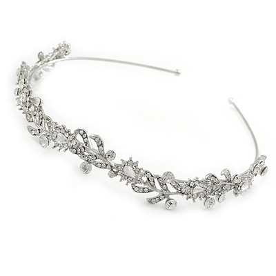 Bridal/ Wedding/ Prom Rhodium Plated Clear Crystal, CZ Floral Tiara Headband