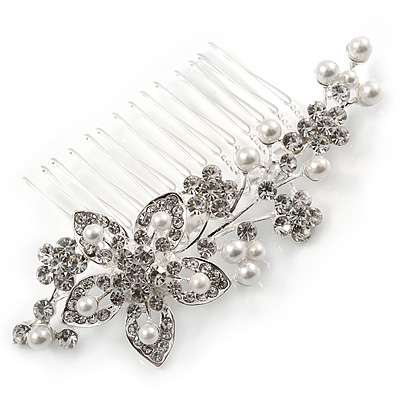 Bridal/ Wedding/ Prom/ Party Rhodium Plated Clear Austrian Crystal Glass Pearl Floral Side Hair Comb - 90mm - main view