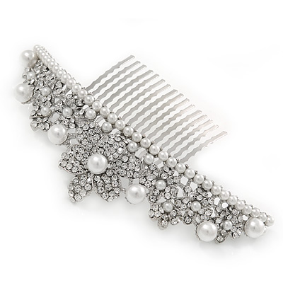 Oversized Bridal/ Wedding/ Prom/ Party Rhodium Plated Austrian Crystal, Glass Pearl Hair Comb/ Tiara - 12.5cm