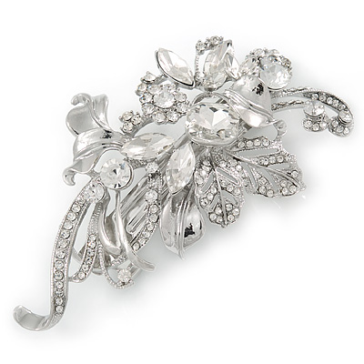 Rhodium Plated, Clear Cz Floral Barrette Hair Clip Grip - 105mm Across