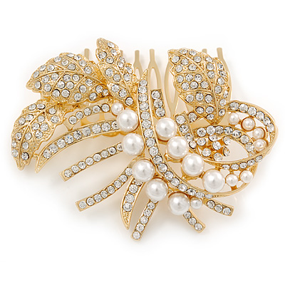 Bridal/ Wedding/ Prom/ Party Gold Plated Clear Austrian Crystal Glass Pearl Floral Side Hair Comb - 80mm
