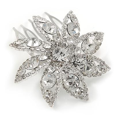 Bridal/ Prom/ Wedding/ Party Rhodium Plated Clear Austrian Crystal Daisy Flower Side Hair Comb - 55mm Width