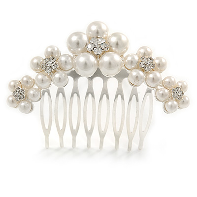 Medium Bridal/ Prom/ Wedding/ Party Rhodium Plated White Glass Pearl, Clear Austrian Crystal Side Hair Comb - 60mm - main view