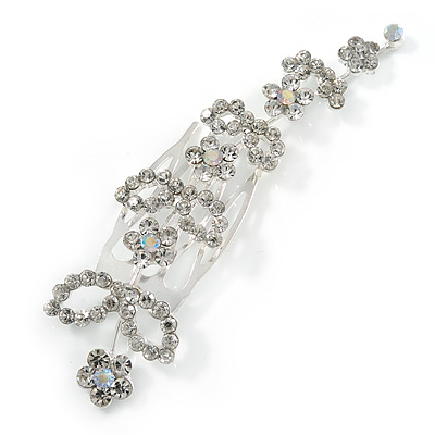 Bridal/ Wedding/ Prom/ Party Silver Tone Clear Austrian Crystal Floral Side Hair Comb - 95mm Across