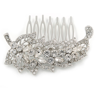 Clear Austrian Crystal 'Leaf' Side Hair Comb In Rhodium Plating - 70mm