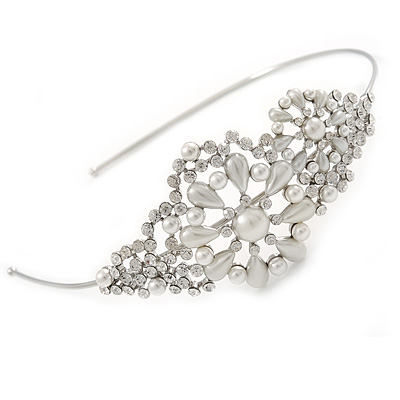 Bridal/ Wedding/ Prom Rhodium Plated Clear Crystal, Faux Pearl Floral Tiara Headband