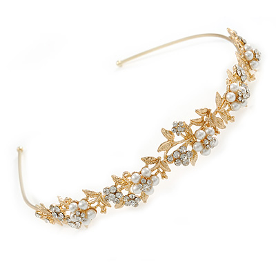 Bridal/ Wedding/ Prom Gold Plated Clear Crystal, White Glass Flowers & Leaves Tiara Headband
