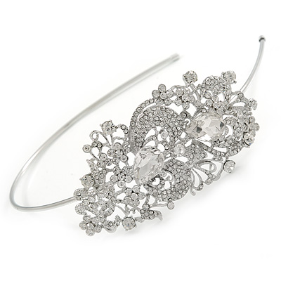 Statement Bridal/ Wedding/ Prom Rhodium Plated Clear Crystal Feather Motif Tiara Headband