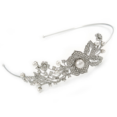 Statement Bridal/ Wedding/ Prom Rhodium Plated Clear Austrian Crystal Floral Tiara