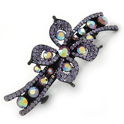Bridal Wedding Prom Black Tone Lilac/ Purple Diamante Flower Barrette Hair Clip Grip - 95mm Across - main view