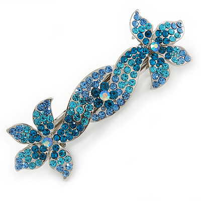 Bridal Wedding Prom Silver Tone Teal/ Blue Diamante 'Double Flower' Barrette Hair Clip Grip - 90mm Across
