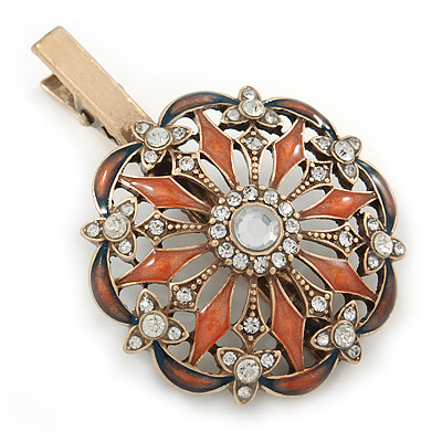Vintage Inspired Clear Crystal Orange Enamel Flower Hair Beak Clip/ Concord Clip/ Clamp Clip In Gold Tone - 60mm L