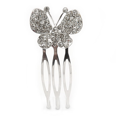 Small Clear Austrian Crystal Butterfly Side Hair Comb In Rhodium Plating - 25mm
