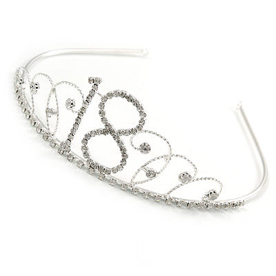 Bridal/ Wedding/ Prom Rhodium Plated Clear Crystal '18' Princess Classic Tiara