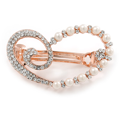 Clear Crystal, Glass Pearl  Open Assymetrical Heart Barrette Hair Clip Grip In Rose Gold Tone - 50mm Across