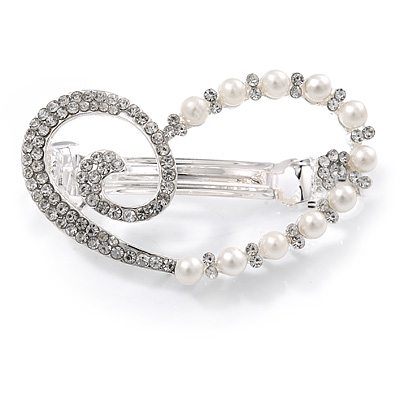 Clear Crystal, Glass Pearl Open Assymetrical Heart Barrette Hair Clip Grip In Rhodium Plated Metal - 50mm Across
