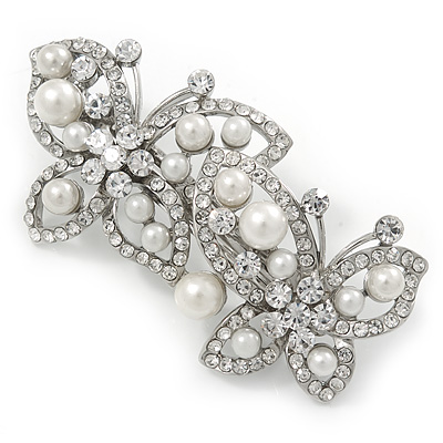 White Glass Pearl, Clear Crystal Butterfly Barrette Hair Clip Grip In Silver Tone - 70mm Across - main view