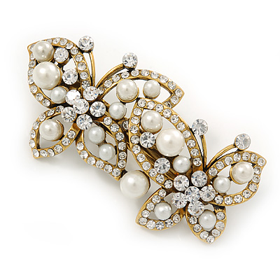 Vintage Inspired White Glass Pearl, Clear Crystal Butterfly Barrette Hair Clip Grip In Antique Gold Tone - 70mm Across