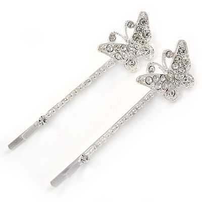 2 Rhodium Plated Austrian Crystal Butterfly Hair Grips/ Slides - 60mm Across - main view
