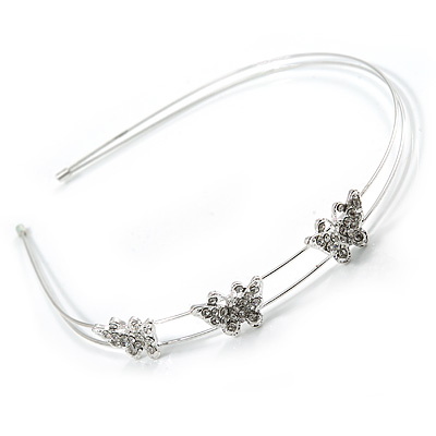Rhodium Plated Crystal Triple Butterfly Tiara Headband