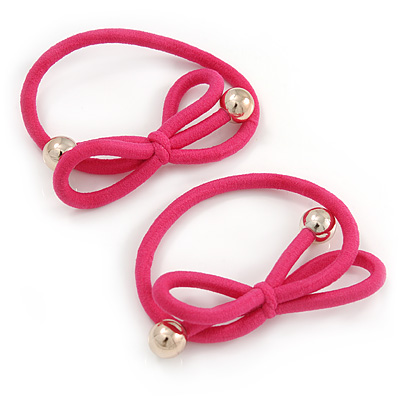Two Piece Pink Bow with Gold Tone Bead Design Hair Elastic Set/ Ideal For School