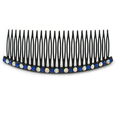 Black Acrylic With AB/ Sapphire Blue Crystal Accent Hair Comb - 10cm