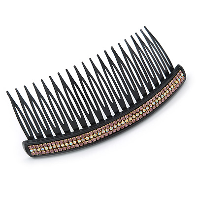 Black Acrylic With Pink/ AB Crystal Accent Hair Comb - 11cm