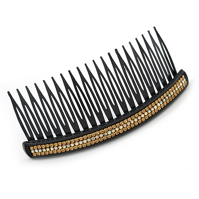 Black Acrylic With Champagne/ AB Crystal Accent Hair Comb - 11cm - main view