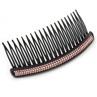 Black Acrylic With Clear and Purple Crystal Accent Hair Comb - 11cm