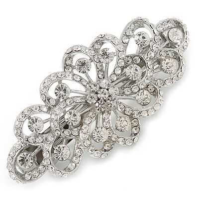 Bridal Wedding Prom Silver Tone Filigree Diamante Floral Barrette Hair Clip Grip - 80mm Across