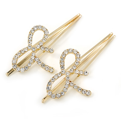 2 Bridal/ Prom Clear Crystal Bow Hair Grips/ Slides In Gold Plating - 70mm Across
