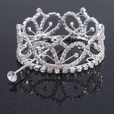 Statement Full Round Clear Crystal Queen Crown Rhinestone Bridal Tiara Pageant Prom Wedding Hair Jewellery