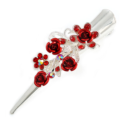 Medium Red Crystal, Rose Floral Hair Beak Clip/ Concord/ Alligator Clip In Silver Tone - 75mm L