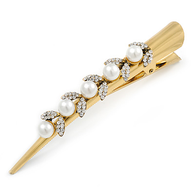 Long Vintage Inspired Gold Tone Clear Crystal White Faux Pearl Hair Beak Clip/ Concord/ Crocodile Clip - 13cm L - main view