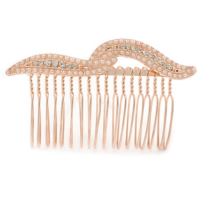 Bridal/ Wedding/ Prom/ Party Rose Gold Tone Clear Crystal, Cream Faux Pearl Double Leaf Hair Comb - 85mm
