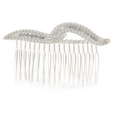 Bridal/ Wedding/ Prom/ Party Silver Plated Clear Crystal, Cream Faux Pearl Double Leaf Hair Comb - 85mm